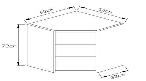 Κουτί κρεμαστό γωνιακό φάλτσο 720 x 600 x 600mm