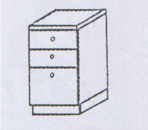 Συρταριέρα κουζίνας με 3 συρτάρια με μεταλ πλαϊνό ρόδας
