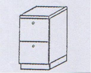 Συρταριέρα κουζίνας με 2 συρτάρια με μεταλ πλαϊνο ρόδας